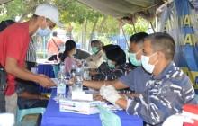 TNI AL KEMBALI GELAR SERBUAN VAKSIN TAHAP II DI DUMAI UNTUK TEKAN PENYEBARAN COVID-19