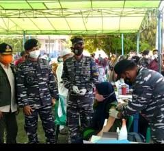 TNI AL Lanal Babel Gelar Kembali Menggelar Vaksinasi Masyarakat Maritim di Muntok Babel
